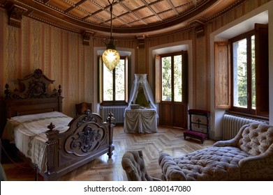 Gressoney-Saint-Jean, Valle d'Aosta region, Italy. 25 April 2018. Castel Savoia, is a villa built in the late 1800s in eclectic style. Inside, the bedroom of Queen Margherita