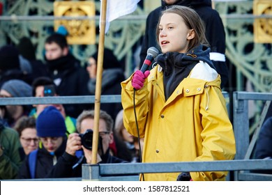 "Greta Thunberg at the ""Fridays For Future"" event in Turin. Turin, Italy - December 2019"