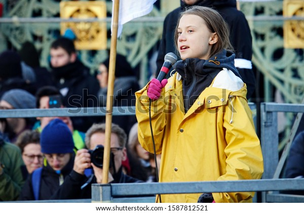 """Greta Thunberg at the """"Fridays For Future"""" event in Turin. Turin, Italy - December 2019"""