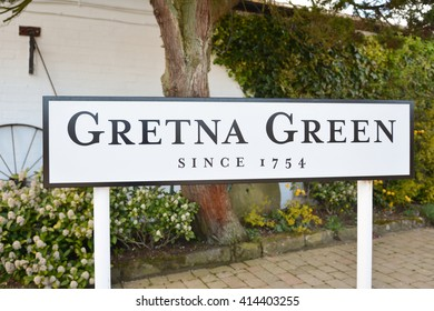 GRETNA GREEN, SCOTLAND, UK - 2 MAY 2016: Gretna Green sign by the Blacksmiths Shop