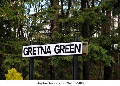 Gretna Green village signpost Scotland