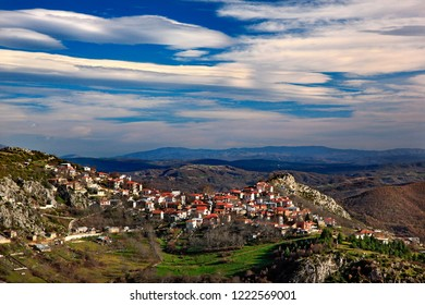 GREVENA, MACEDONIA, GREECE. Panoramic view of Spilaio, one of the most beautiful Greek mountainous villages.