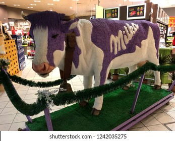 Grevenmacher, Luxembourg - November 24, 2018: Milka cow