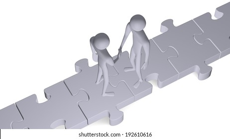Grey 3d people standing on puzzles shaking hands isolated on white