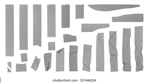 Grey adhesive tape set. Torn pieces of tape isolated on white background. Design elements for your design