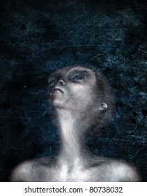 Grey Alien looks toward the sky on a dark night. Stylized conceptual illustration of a group of hybrid Greys looking up in anticipation. Grunge textured Original illustration