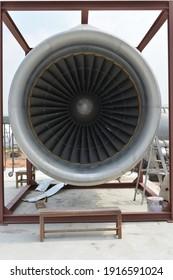 Grey alluminium propeller of the airplane.