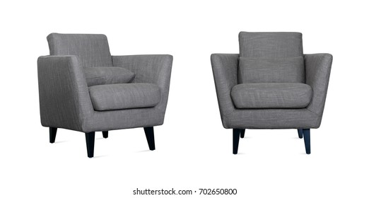 Grey Armchair in two angles on white background