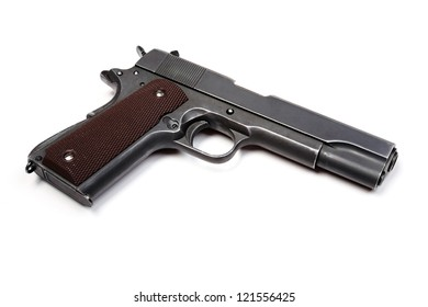 Grey army pistol isolated on a white background. Studio shot.