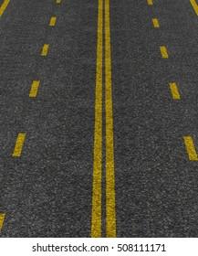 grey asphalt road with yellow stripes