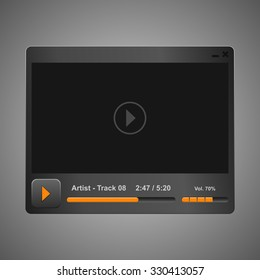 grey audio video player design for you app