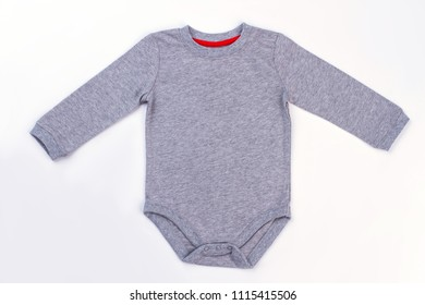 Grey baby onesie. White isolated background.
