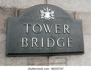grey background and white letter tower bridge