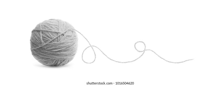 Grey ball of Threads wool yarn isolated on white background