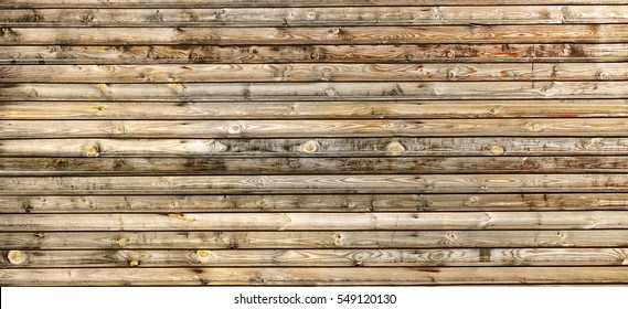 Grey Barn Wooden Wall Planking Wide Texture. Old Solid Wood Slats Rustic Shabby Gray Background. Hardwood Dark Weathered Square Surface. Grungy Faded Timber Wood Structure. Horizontal Web Banner
