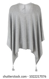 Grey basic women's fashion poncho, photographed on ghost mannequin, isolated on white background. Back view.