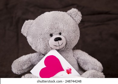 Grey bear with red heart