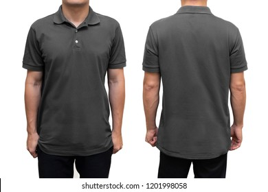 Grey blank polo t-shirt on human body for graphic design mock up