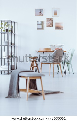 Grey Blanket On Bench Bright Dining Stock Photo (Edit Now) 772630051