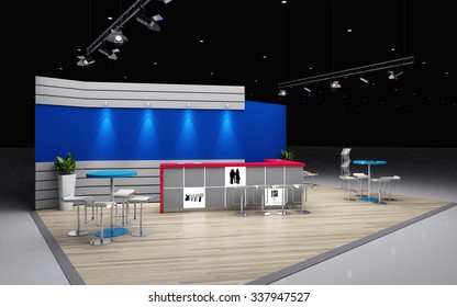 grey and blue exhibition stand 3d Rendering