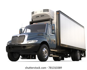 Grey blue modern fridge cargo truck - 3D Illustration