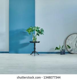 Grey and blue wall interior background, Decorative wall interior room concept with vase of plant black table and accessory.