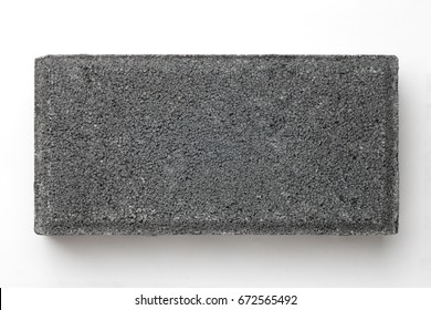 Grey brick on white background, Top view.