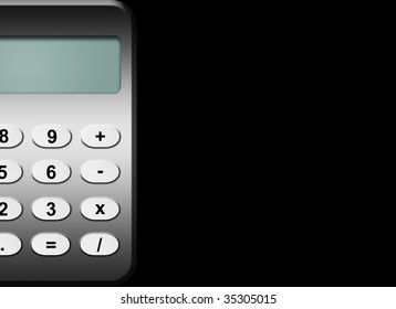 Grey calculator over black background with space to insert your text or design