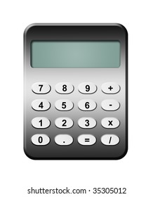 Grey calculator over white background. Isolated illustration