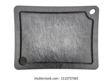 grey carved stripped used meat cutting board isolated on white backgournd