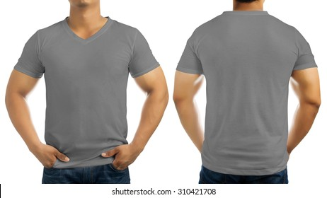 Grey casual t-shirt on men's body isolated on white background, front and back.