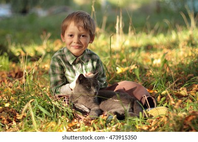 Grey Cat and smiling Boy sitting on the grass. Kid playing with cat.