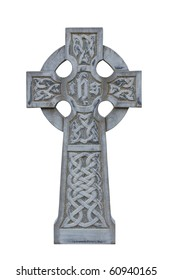 grey celtic cross isolated on white cemetery tombstone
