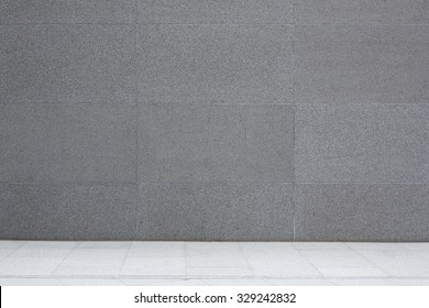 Grey cement wall and floor, granite concrete tiles, abstract background