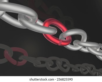 Grey chain with red link, black background.