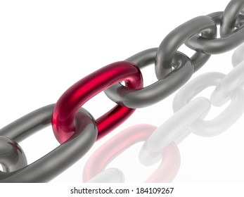Grey chain with red link, white background.