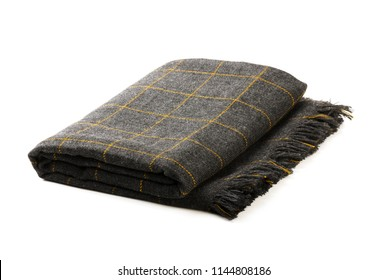Grey checkered blanket isolated on a white background