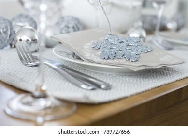 Grey Christmas Table Set Up