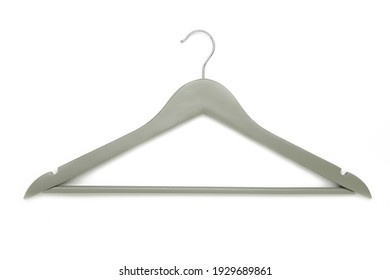 Grey coat hanger isolated on a white background. Top view