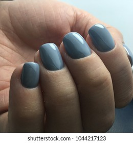 grey color nails gel polish manicure