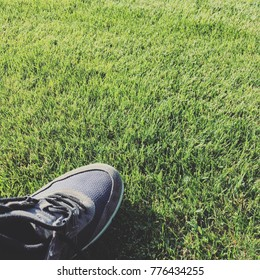 Grey colored shoe on grass