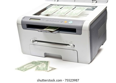 Grey computer laser printer and dollars isolated on white