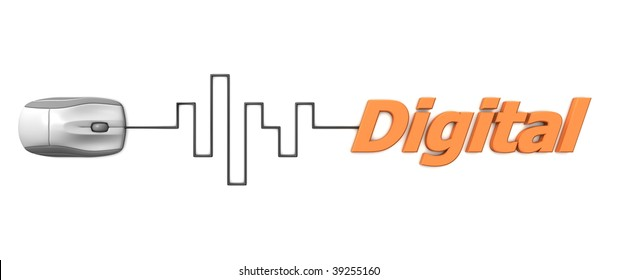 grey computer mouse connected to the orange word Digital via digital waveform cable