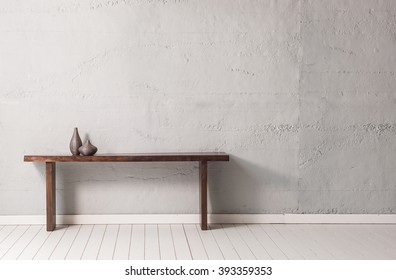 grey concrete wall wooden modern desk with wooden floor