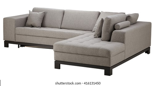 Grey corner sofa isolated on white include clipping path