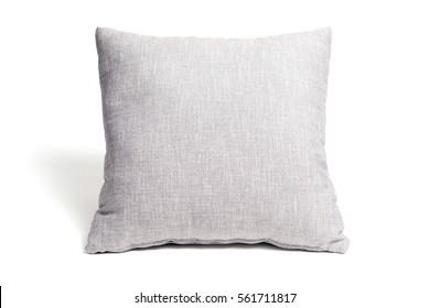 grey cushion on white background