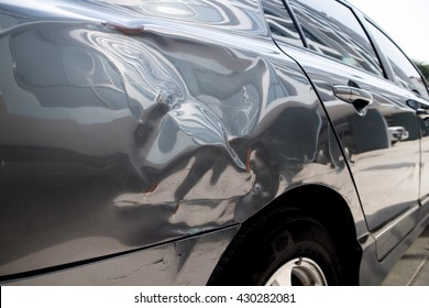 Grey Dent Car from Car Crash Accident