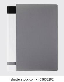 Grey document folder on white background