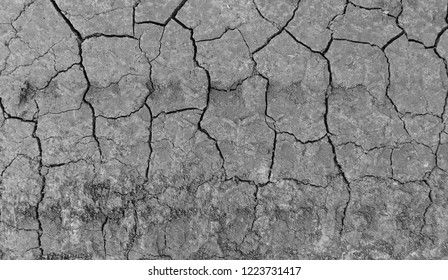 Grey dried and cracked ground earth background. Closeup of dry fissure dark ground. erosion