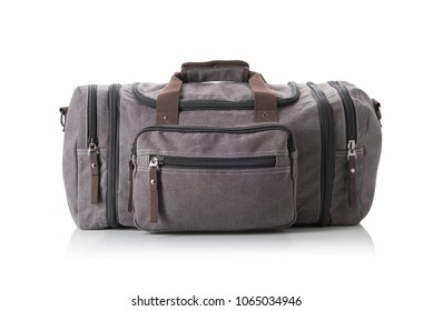 A grey duffel bag on white with slight reflection and shadow.